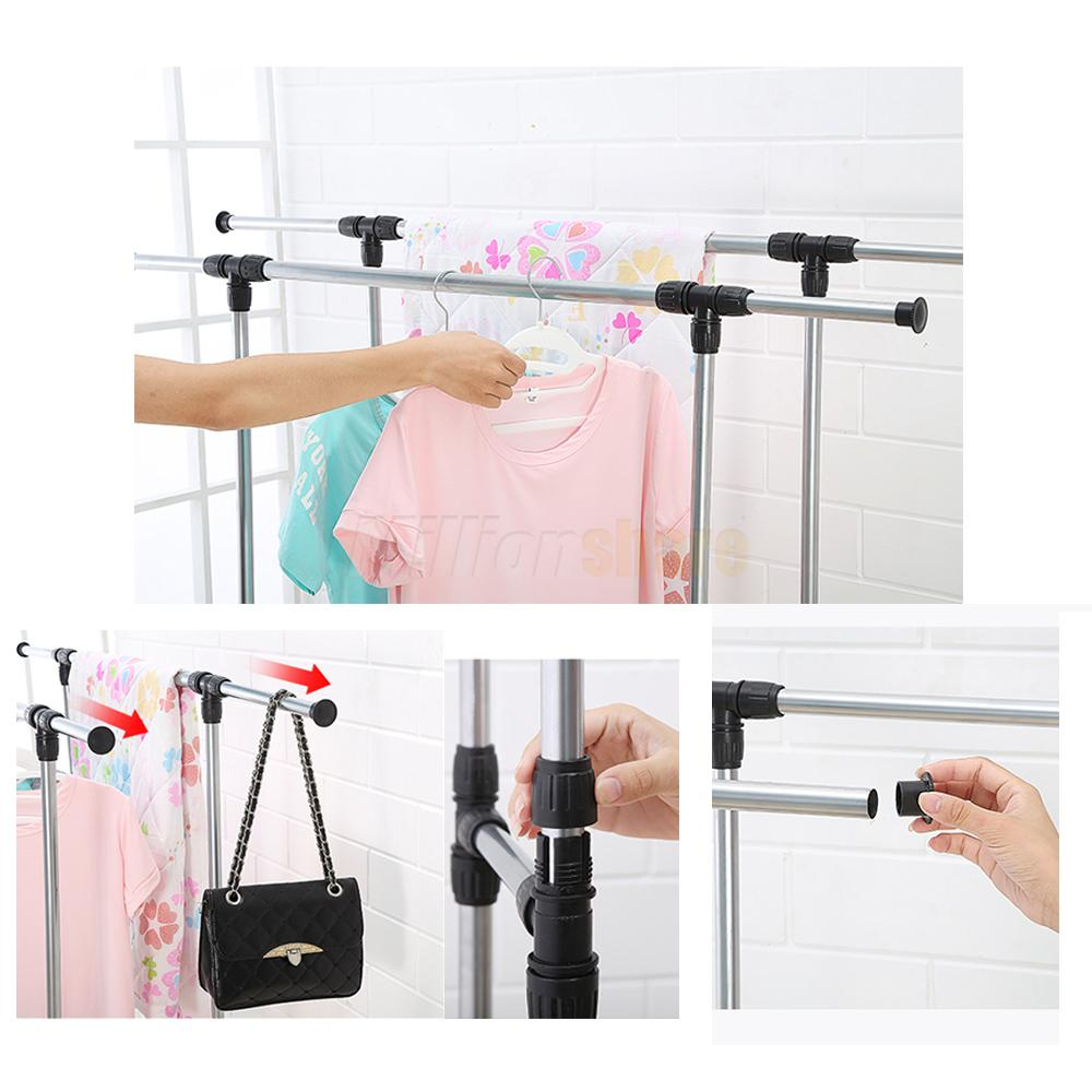 Single Dual Pole Garment Rack Adjustable Clothes Drying