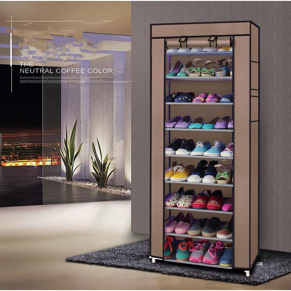 Details About 10 Tier Shoe Boot Shelves Shoe Rack Closet Cabinet Standing Space Saving Coffee
