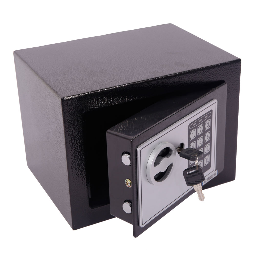 Small Black Steel Digital Electronic Safe Coded Box Home