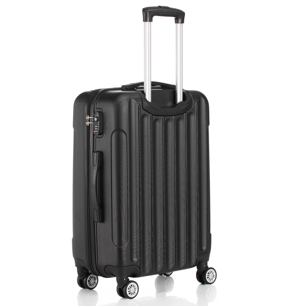 156f370da Lot 3 Luggage Travel Set Bag ABS Trolley Suitcase w/TSA Lock 4 Wheels Black