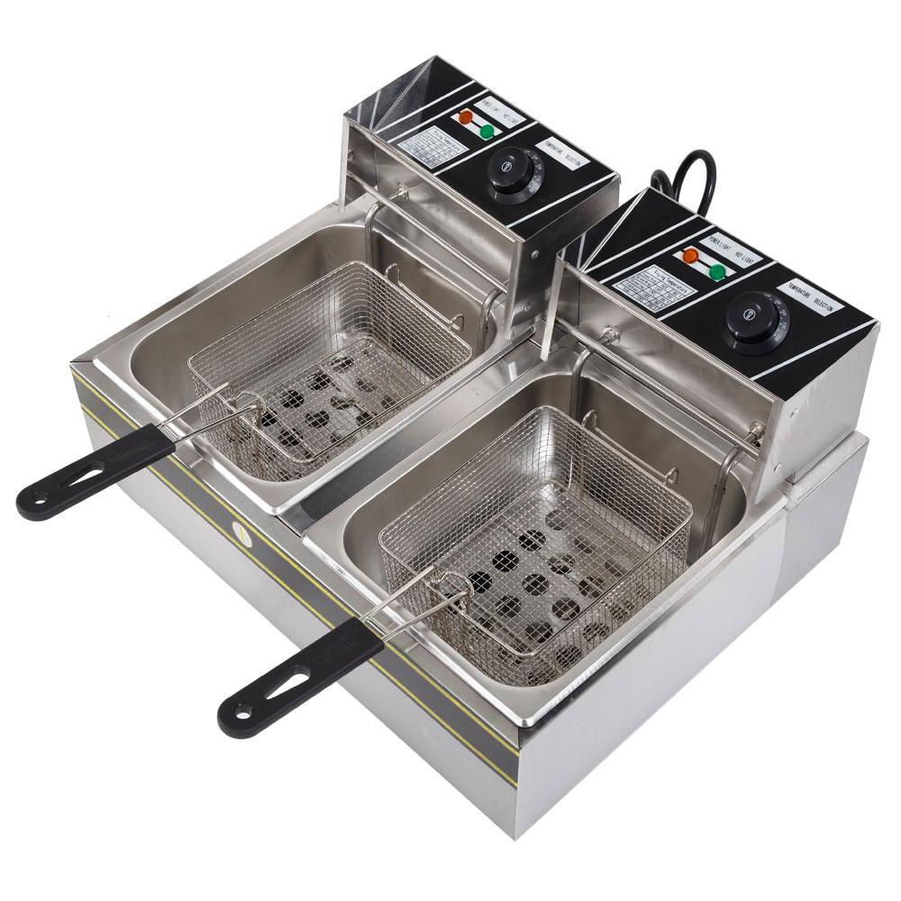 Electric Countertop Deep Fryer Dual Tank Commercial