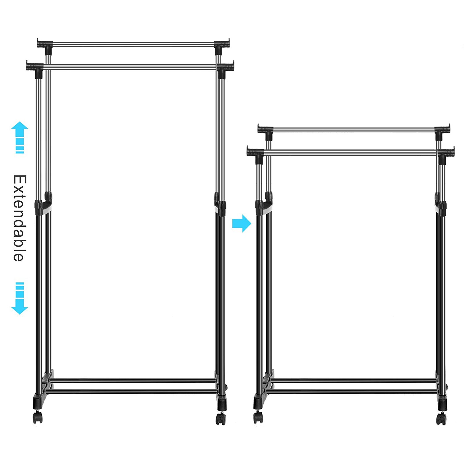 Rolling Portable Adjustable Clothes Rack Double Bar Rail