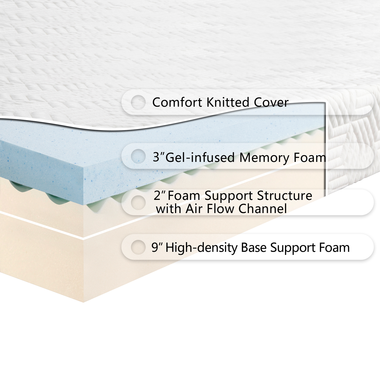 14 Quot Inch Queen Size Medium Firm Memory Foam Mattress W 3