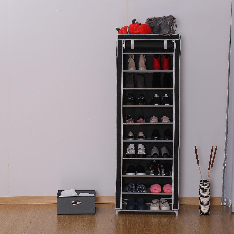 Genial Portable 10 Tier Shoe Rack Shelf Storage Closet Organizer Cabinet With Cover