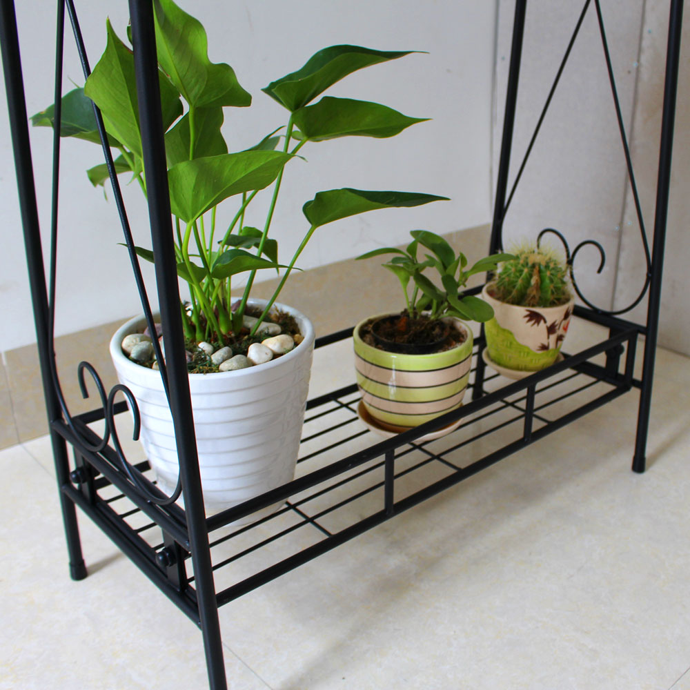 2 Tier Metal Plant Stand Decorative Planter Holder Flower Pot Shelf Rack  Black
