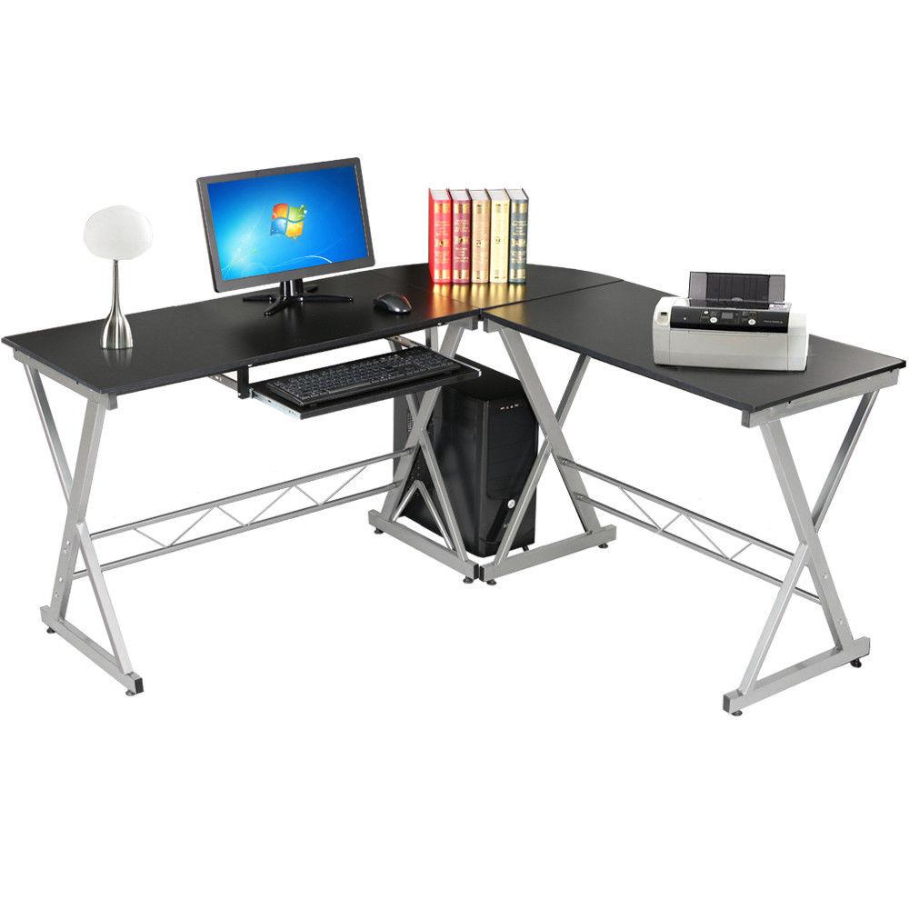 Wooden Computer Table ~ L shape corner computer desk wooden laptop pc table