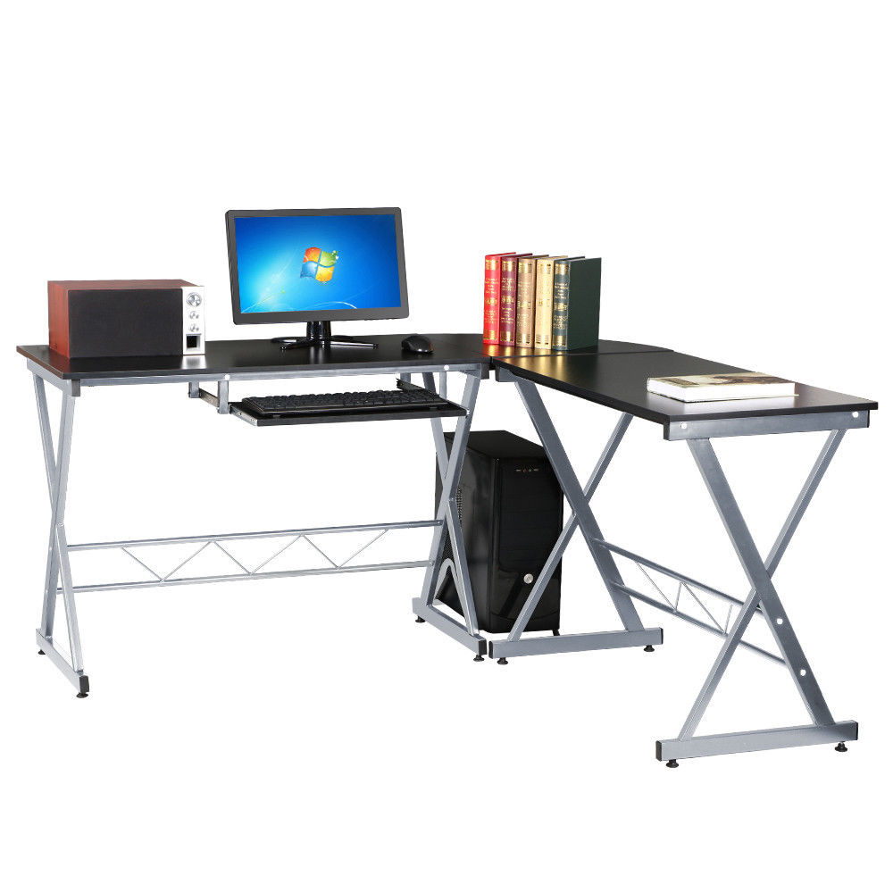 L Shaped Desk Corner Computer Gaming PC Table Laptop W/ Keyboard Tray CPU  Stand