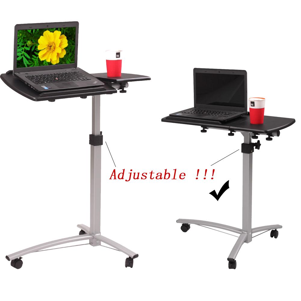 Adjustable Side Table Singapore: Laptop Rolling Desk Adjustable Tilt Stand Portable Caster