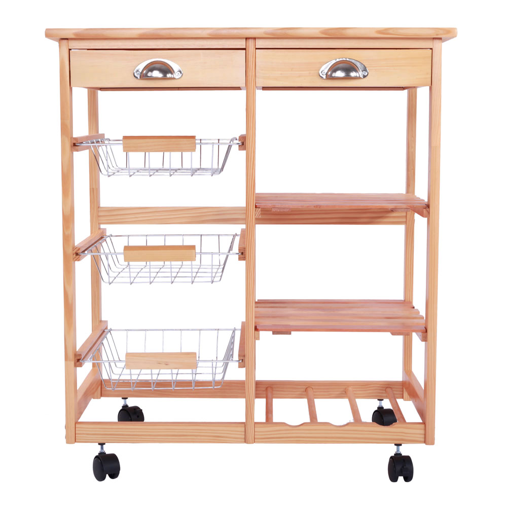 Wood Kitchen Island Storage Drawer Utility Serving Rolling Cart w ...