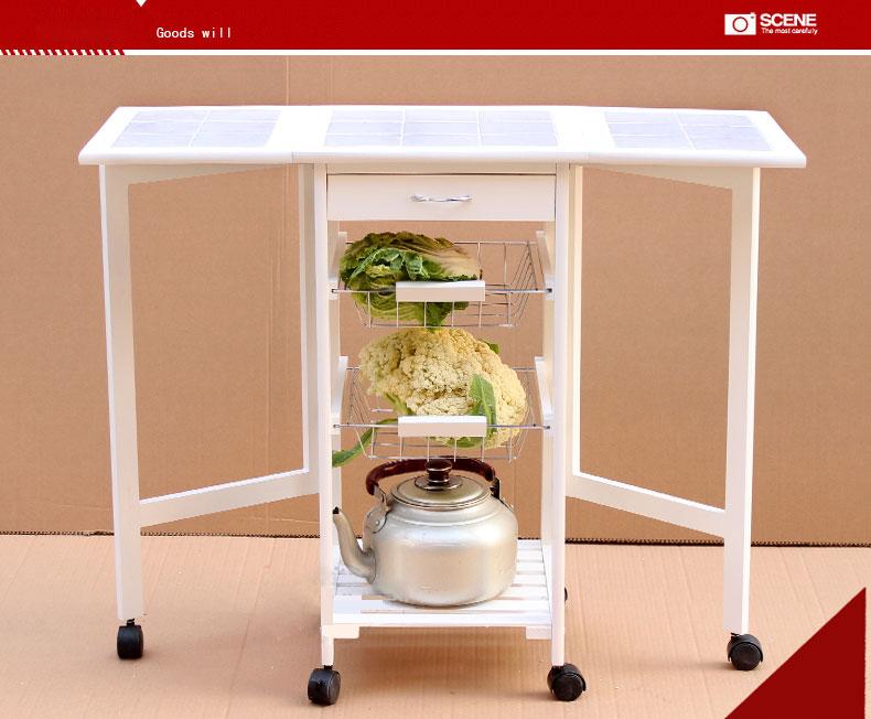 Fold Kitchen Cart Storage Wood Drop Leaf Island Serving