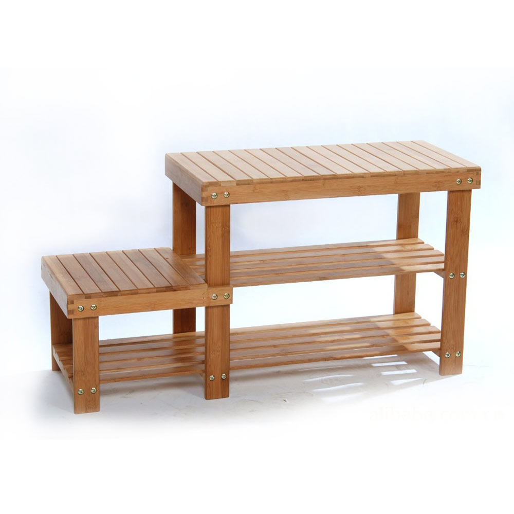 Bamboo Shoe Rack Bench Stool Storage Display Rack Seat Kid Adult ...