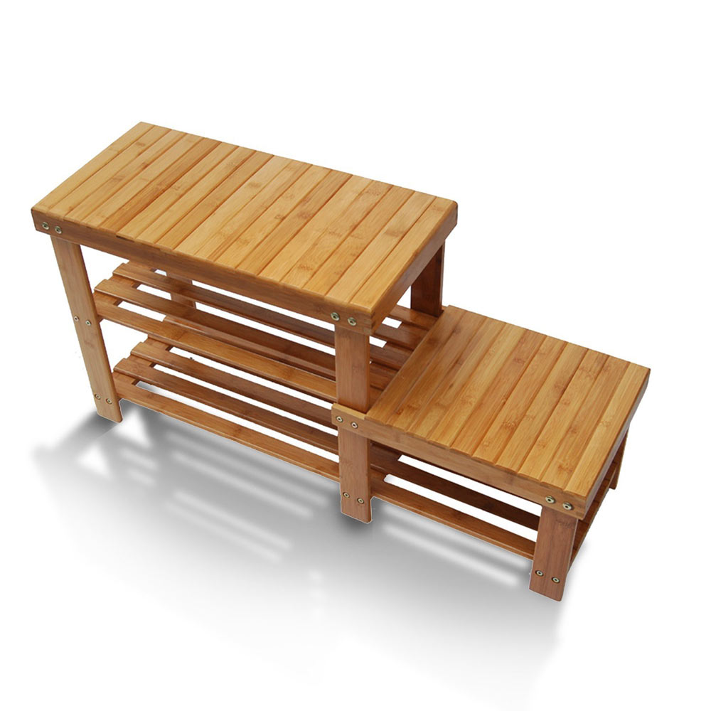 Bamboo Shoe Rack Bench Stool Storage Display Rack Seat Kid Adult Shoes Boots