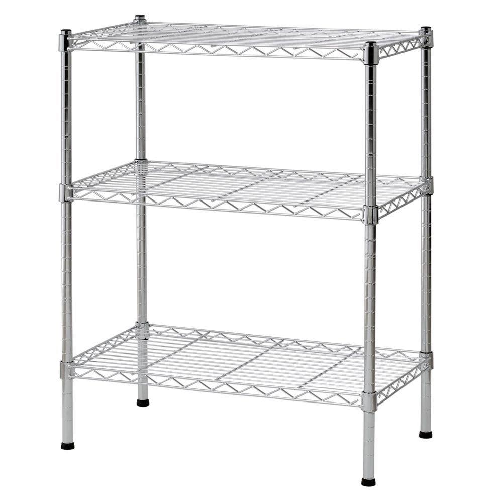 3 Tier Wire Shelving Rack Shelf Adjustable Unit Garage Storage ...