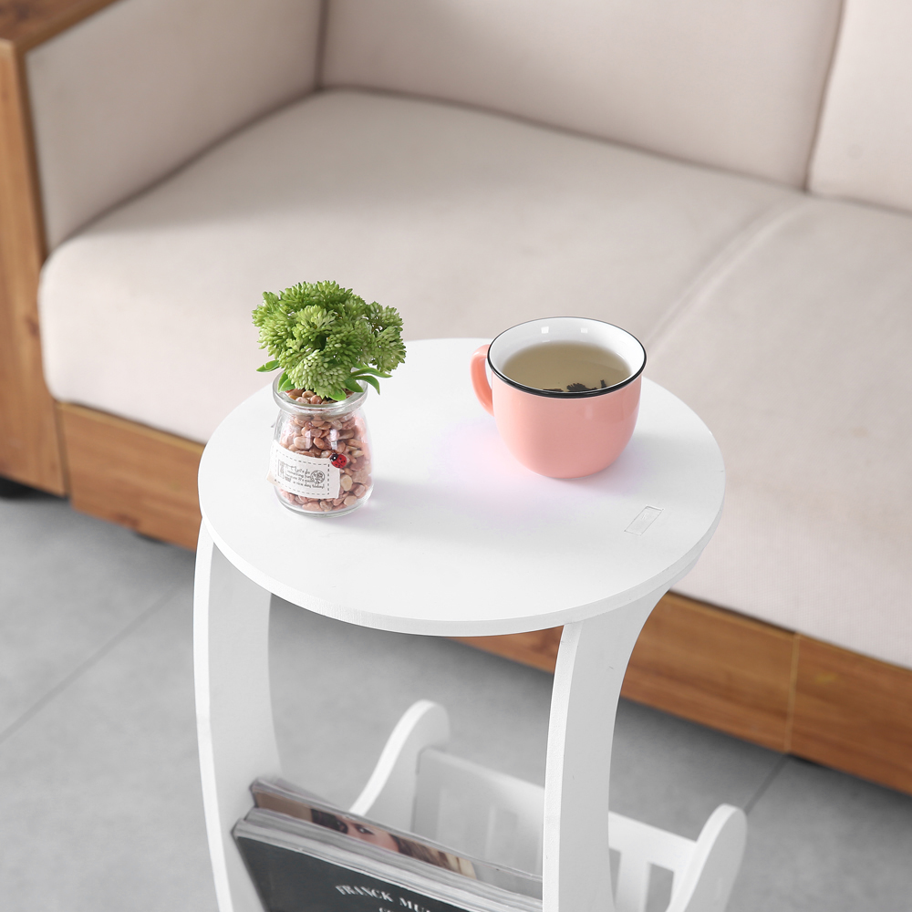 White Small Round End Side Accent Coffee Table Bedroom