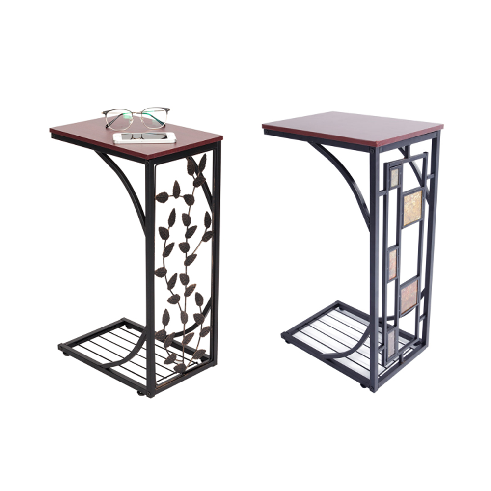 Pleasant Details About 1 2Pcs C Small Sofa End Table Narrow Snack Table Stand Leaf Rectangle Pattern Andrewgaddart Wooden Chair Designs For Living Room Andrewgaddartcom