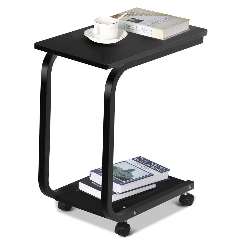 Details About Black Rolling Portable Coffee Sofa Side Snack End Tray Table Over Bed Pc Desk