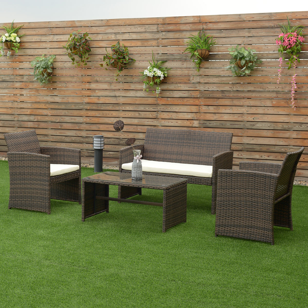 4 PCS Brown Wicker Cushioned Rattan Patio Set Garden Lawn Sofa ...