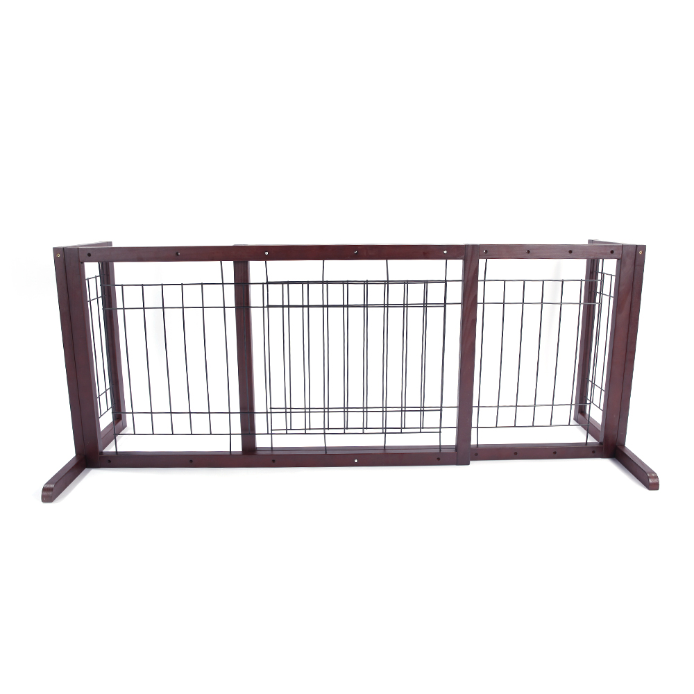 Large Freestanding Pet Safety Gate Small Dog Wood Indoor