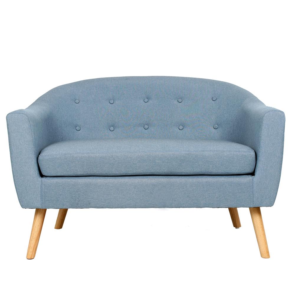 Modern Loveseat Cozy Couch Backrest Livingroom Linen Cushion Sofa