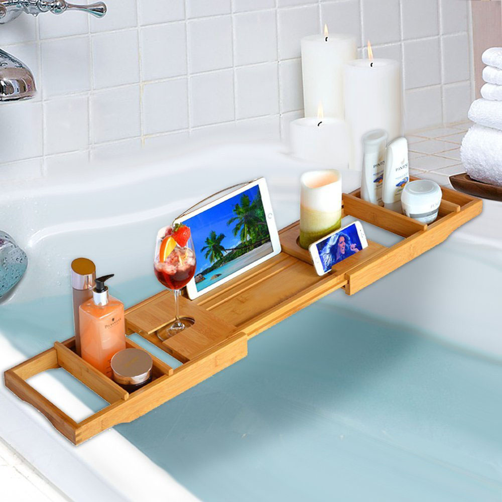 Bathroom Bamboo Bathtub Rack Bath Caddy Wine Glass Holder Tray Over ...