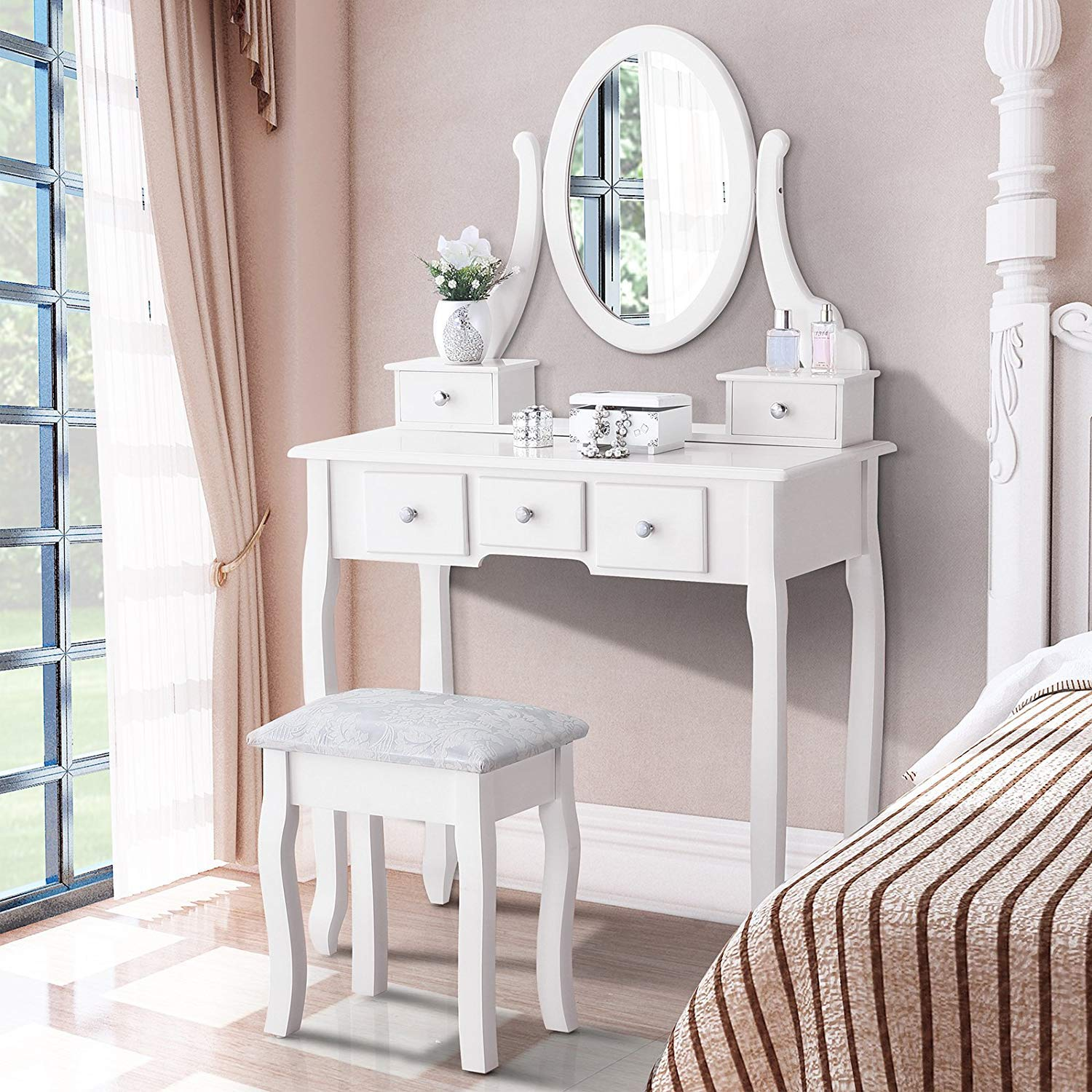 . Details about White Vanity Dressing Table Set With Mirror Stool 5 Drawers  Makeup Desk Bedroom