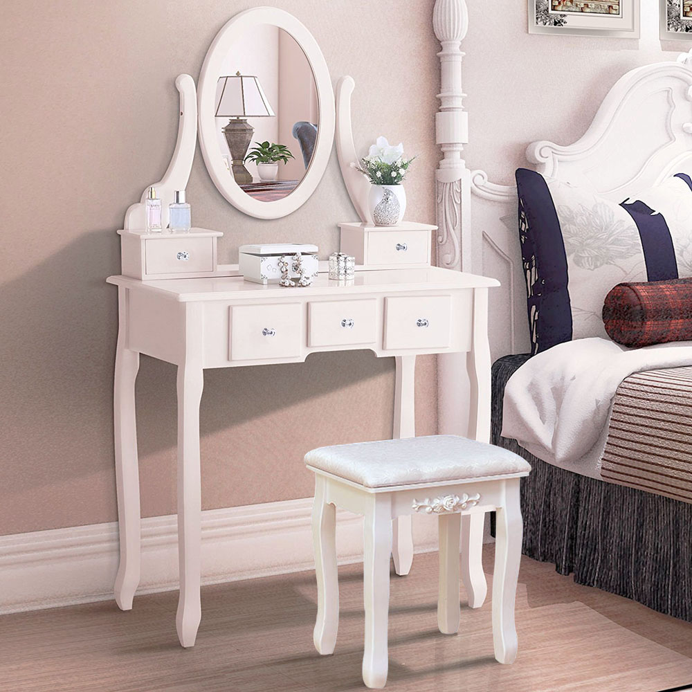 Details about White Vanity Dressing Table Set With Mirror Stool 5 Drawers  Makeup Desk Bedroom
