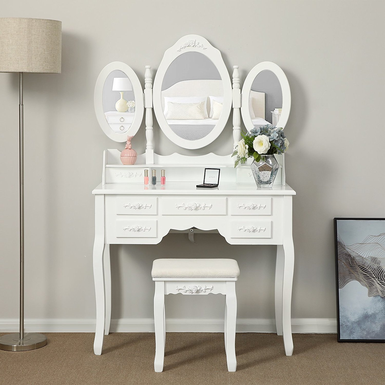 Details about Tri-Folding Mirror Vanity Set Makeup Table 7 Drawers Bedroom  Dressing Desk Wood