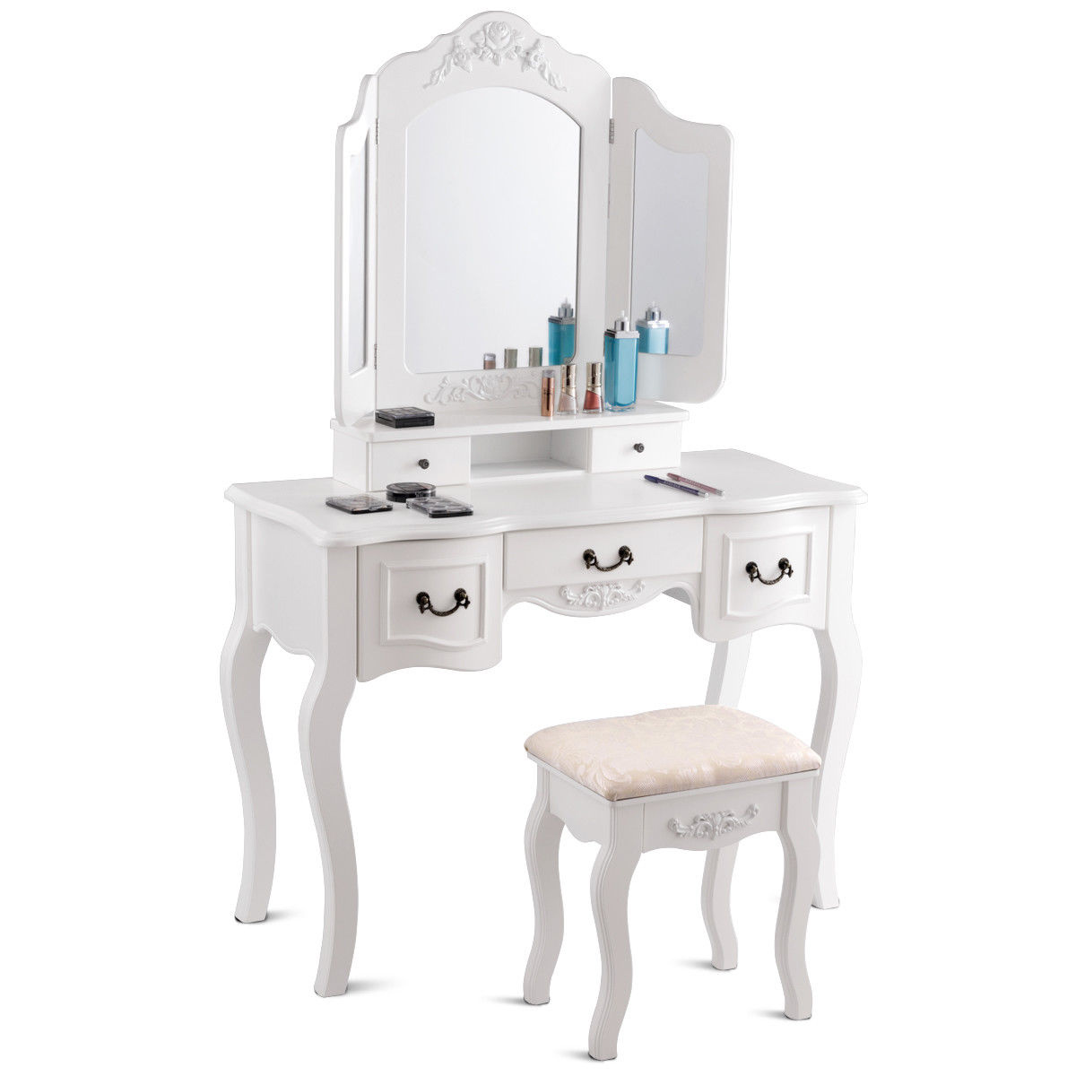Outstanding White Tri Folding Mirror Wood Vanity Makeup Table Set With Squirreltailoven Fun Painted Chair Ideas Images Squirreltailovenorg