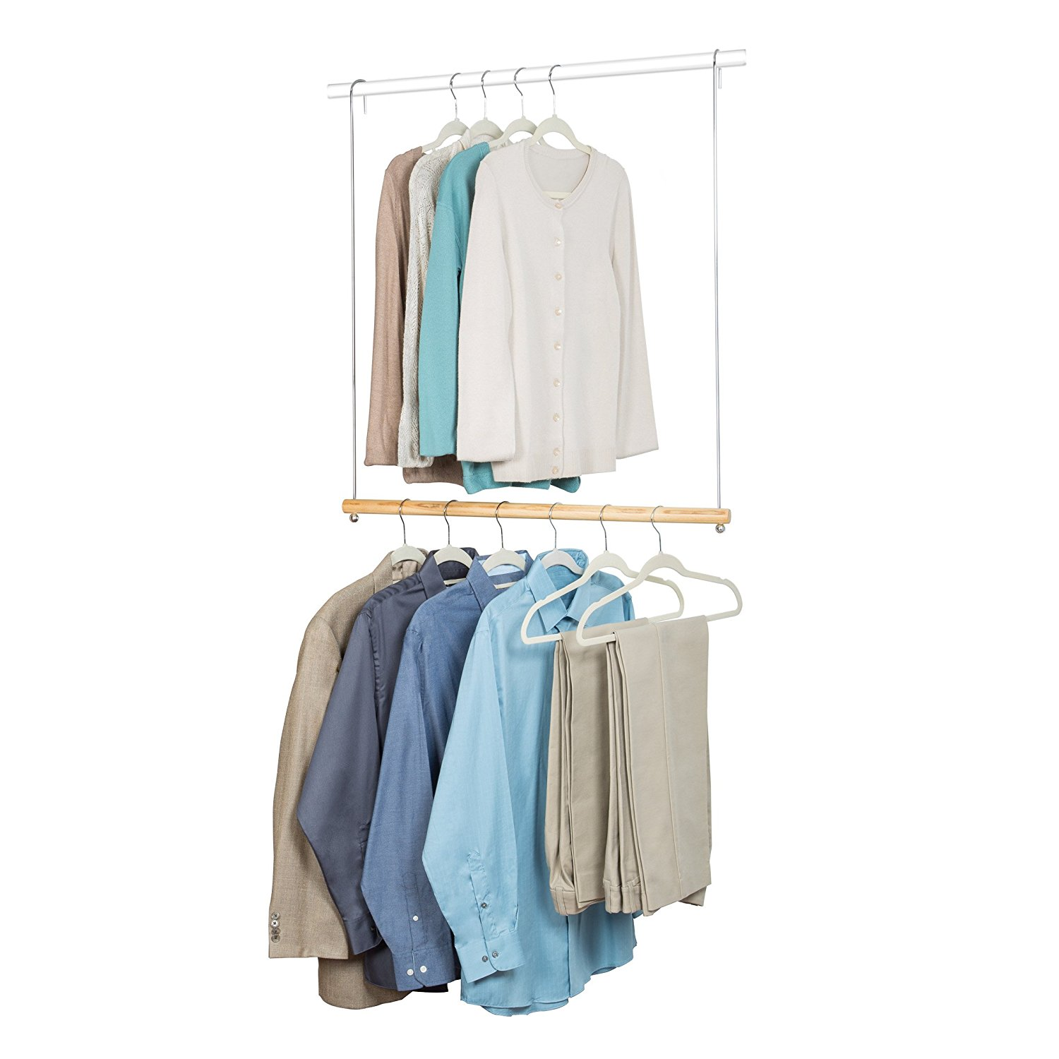 1. Durable and reliable iron chrome plated & solid wood material makes it  can be used for a long time 2. It is very easy to hang and remove clothing