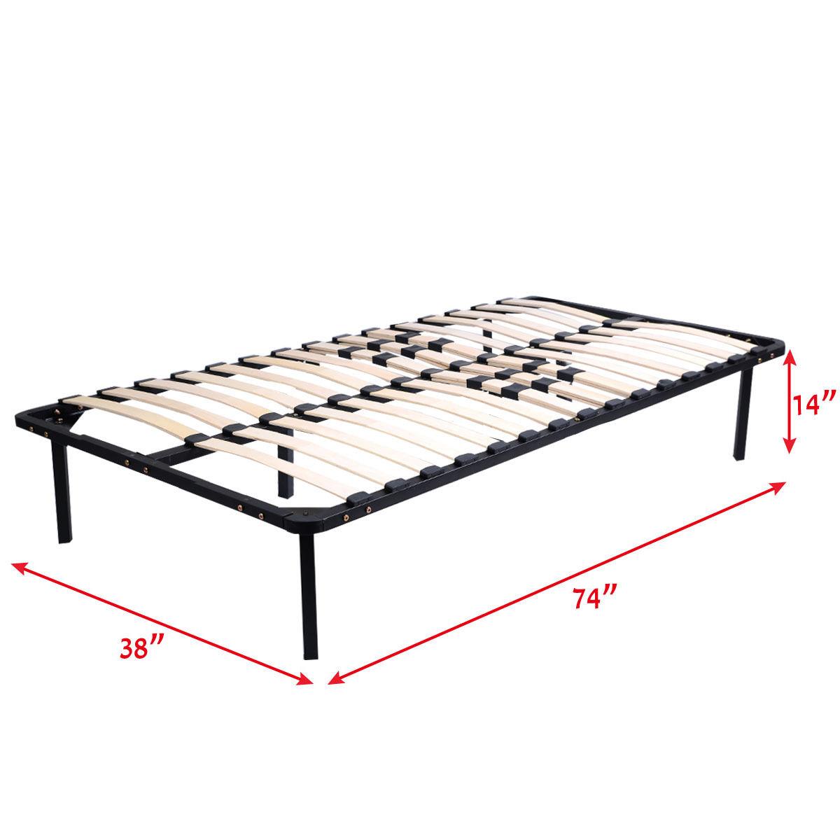 Twin- King Wood Slats Metal Bed Frame Platform Bedroom Mattress ...