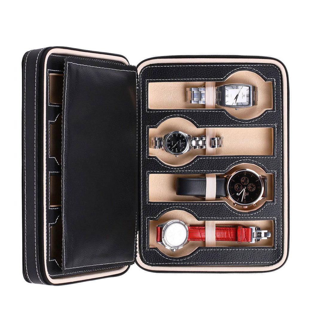 Portable 8 Slot Leather Travel Wrist Watch Display Box
