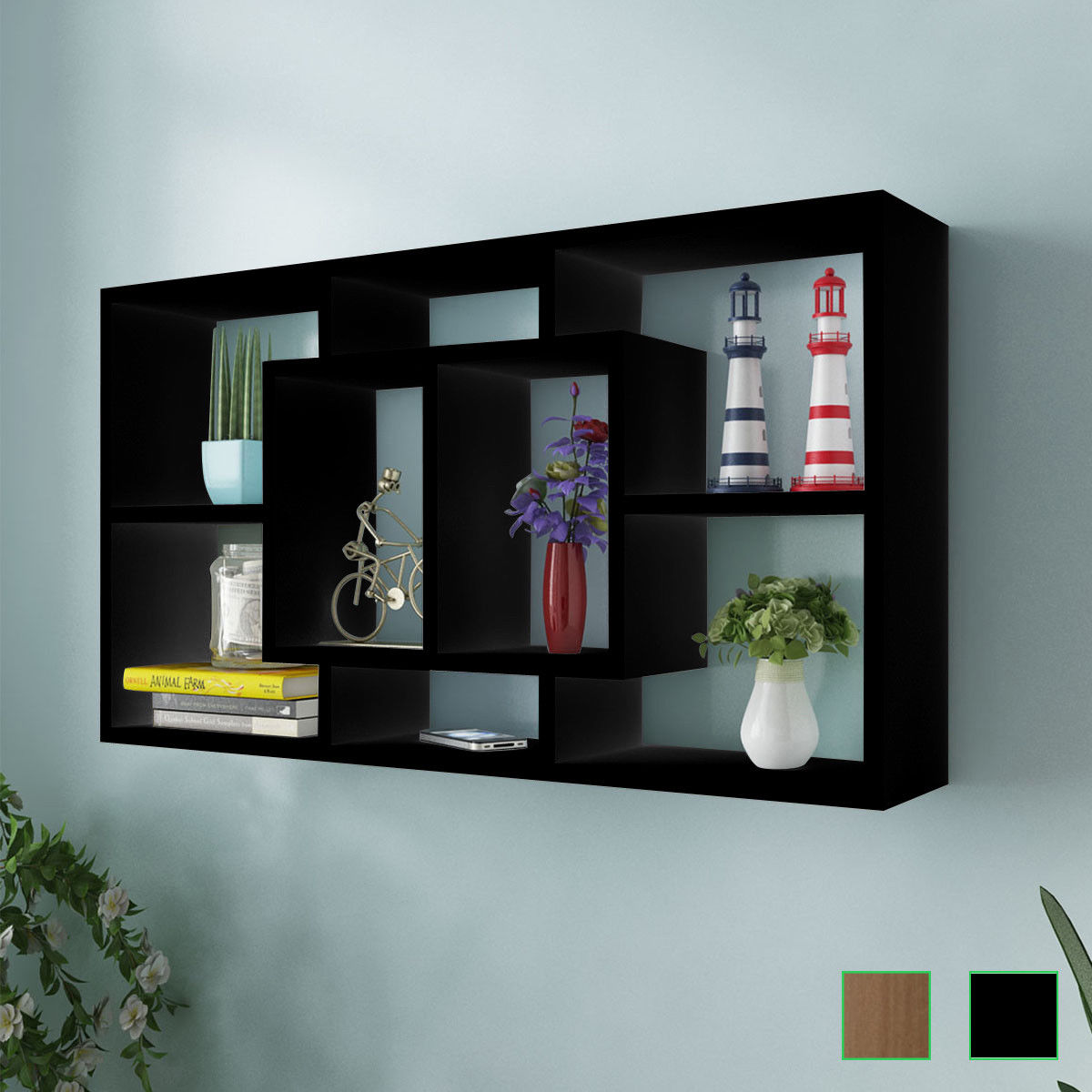 Floating Shelf Hanging Storage Unit Wall Mount Display Rack 8 Open  Compartments