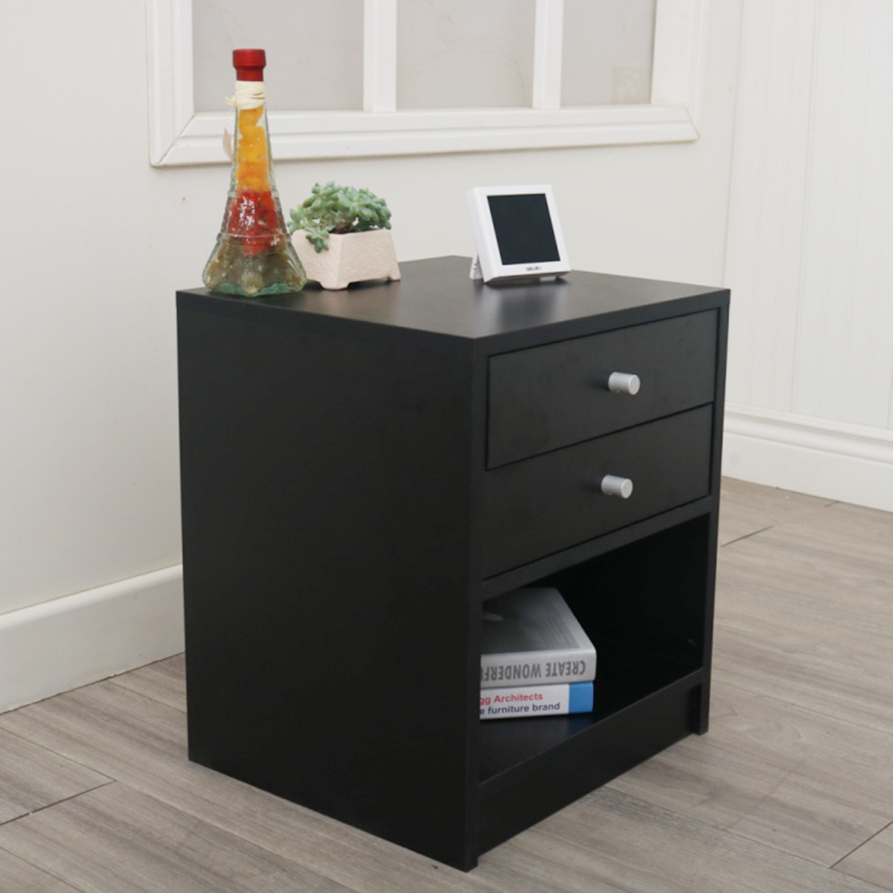 Bedroom Nightstand 2 Drawer Bedside End Table Organizer