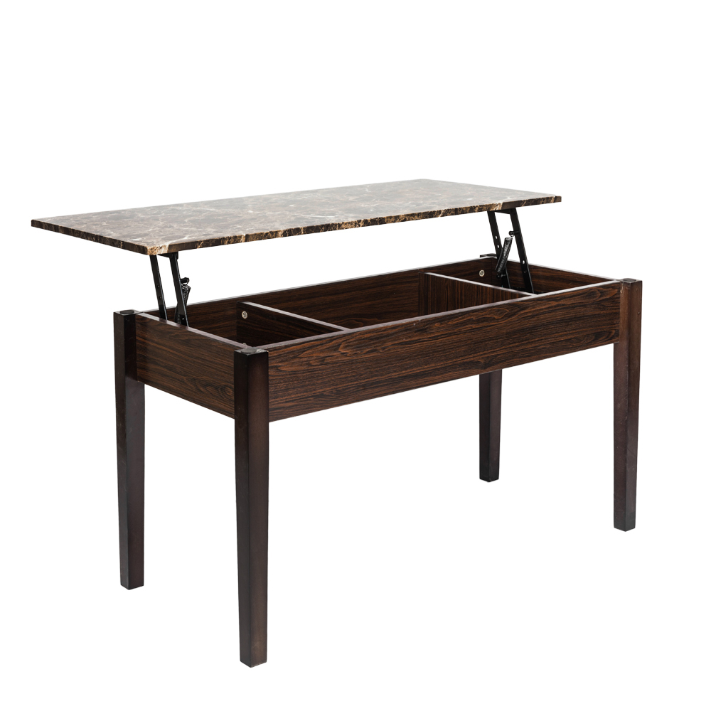 Faux Marble Lift Top Coffee Table W Hidden Storage Compartment - Solid wood lift up coffee table