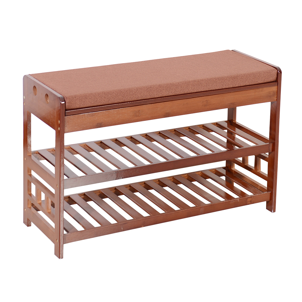New Bamboo Shoe Rack Bench Entryway Organizer Seat Hide