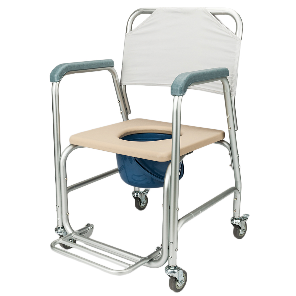 Toilet Seat Chair Medical Commode Chair with Wheels Footrests ...