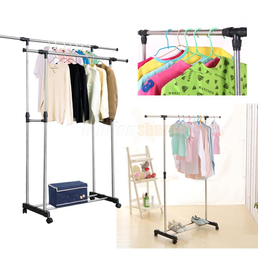 single dual pole garment rack adjustable clothes drying hanging bar rolling rail ebay. Black Bedroom Furniture Sets. Home Design Ideas