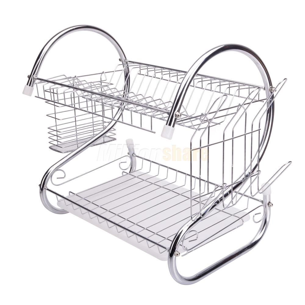 kitchen dish cup drying rack drainer dryer tray cutlery