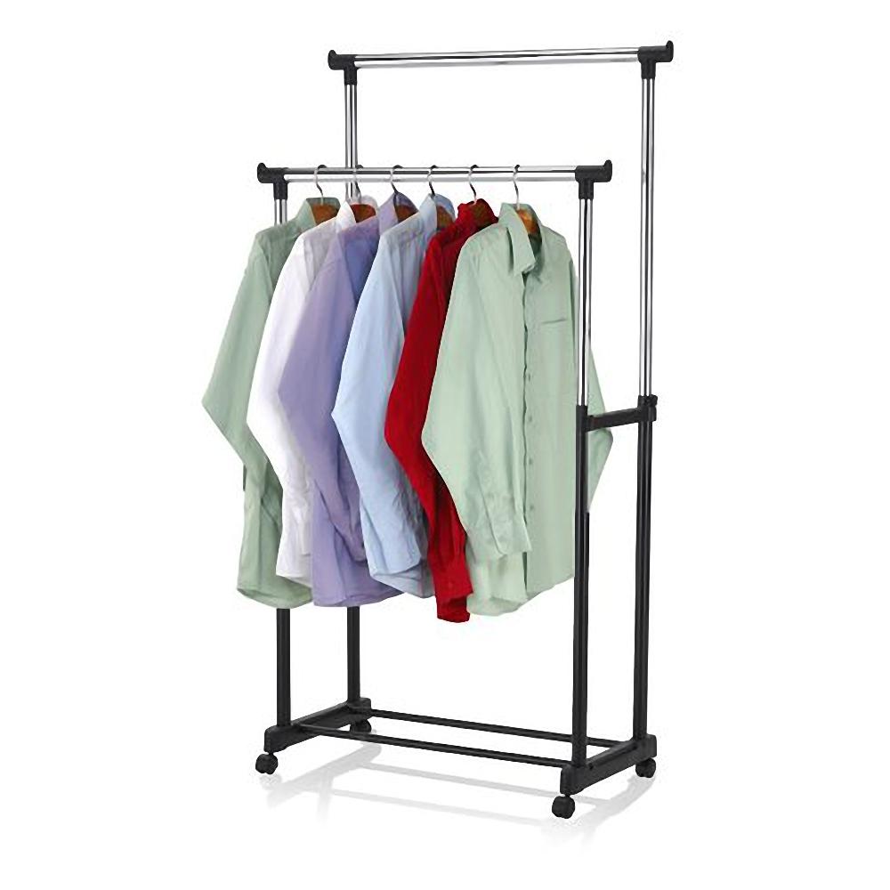 rolling portable adjustable clothes rack double bar rail hanging garment hanger 632598213670 ebay. Black Bedroom Furniture Sets. Home Design Ideas