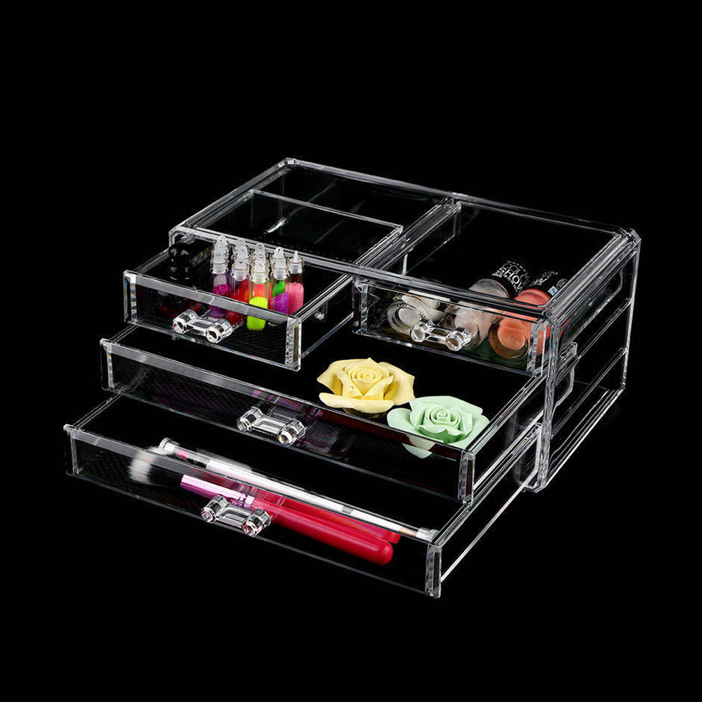 hot style cosmetic organizer 4 drawer jewelry makeup case storage clear ebay. Black Bedroom Furniture Sets. Home Design Ideas