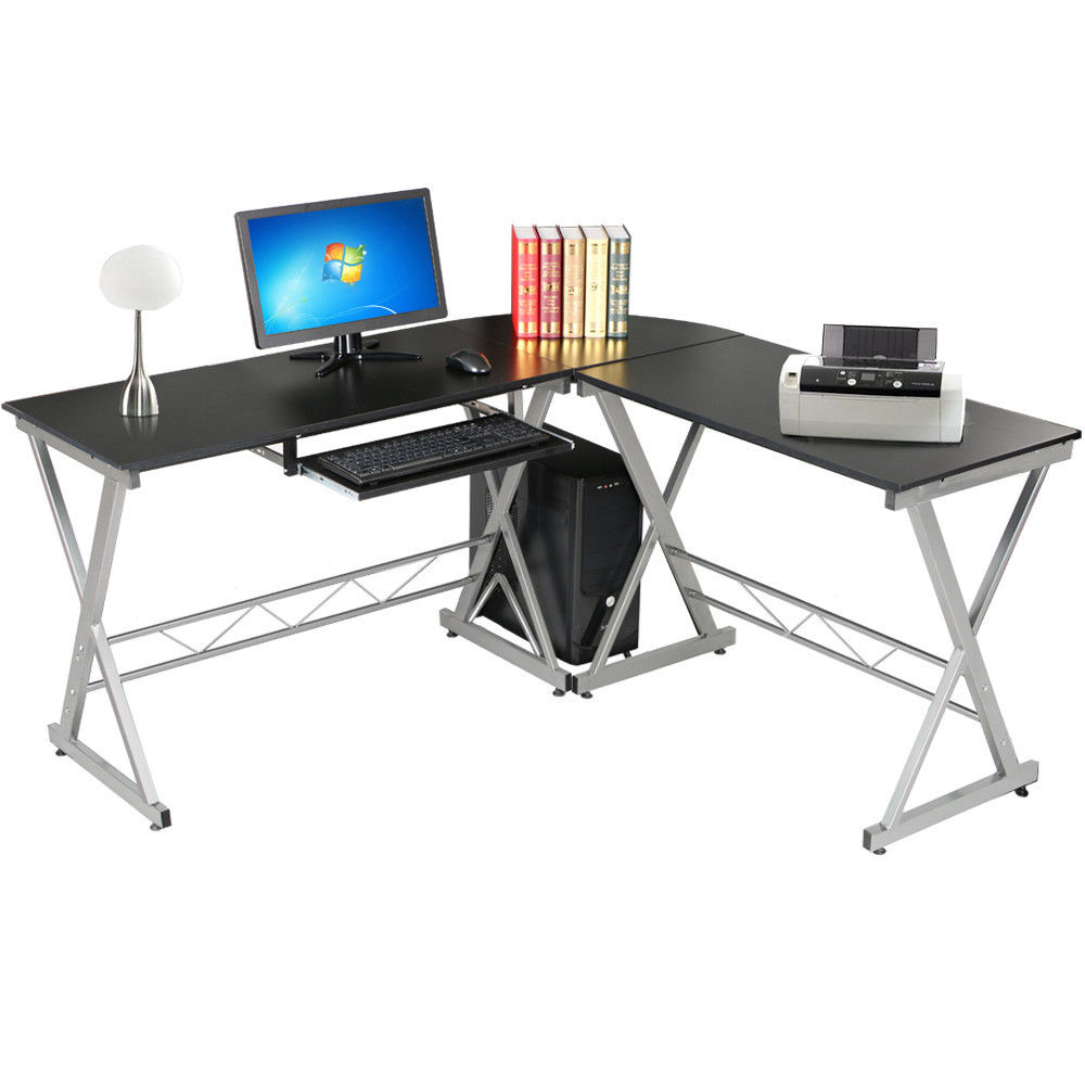 l shape corner computer desk wooden laptop pc table. Black Bedroom Furniture Sets. Home Design Ideas