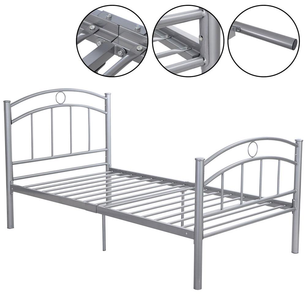 new furniture footboard headboard slive twin size bed frame metal bedroom sliver ebay. Black Bedroom Furniture Sets. Home Design Ideas