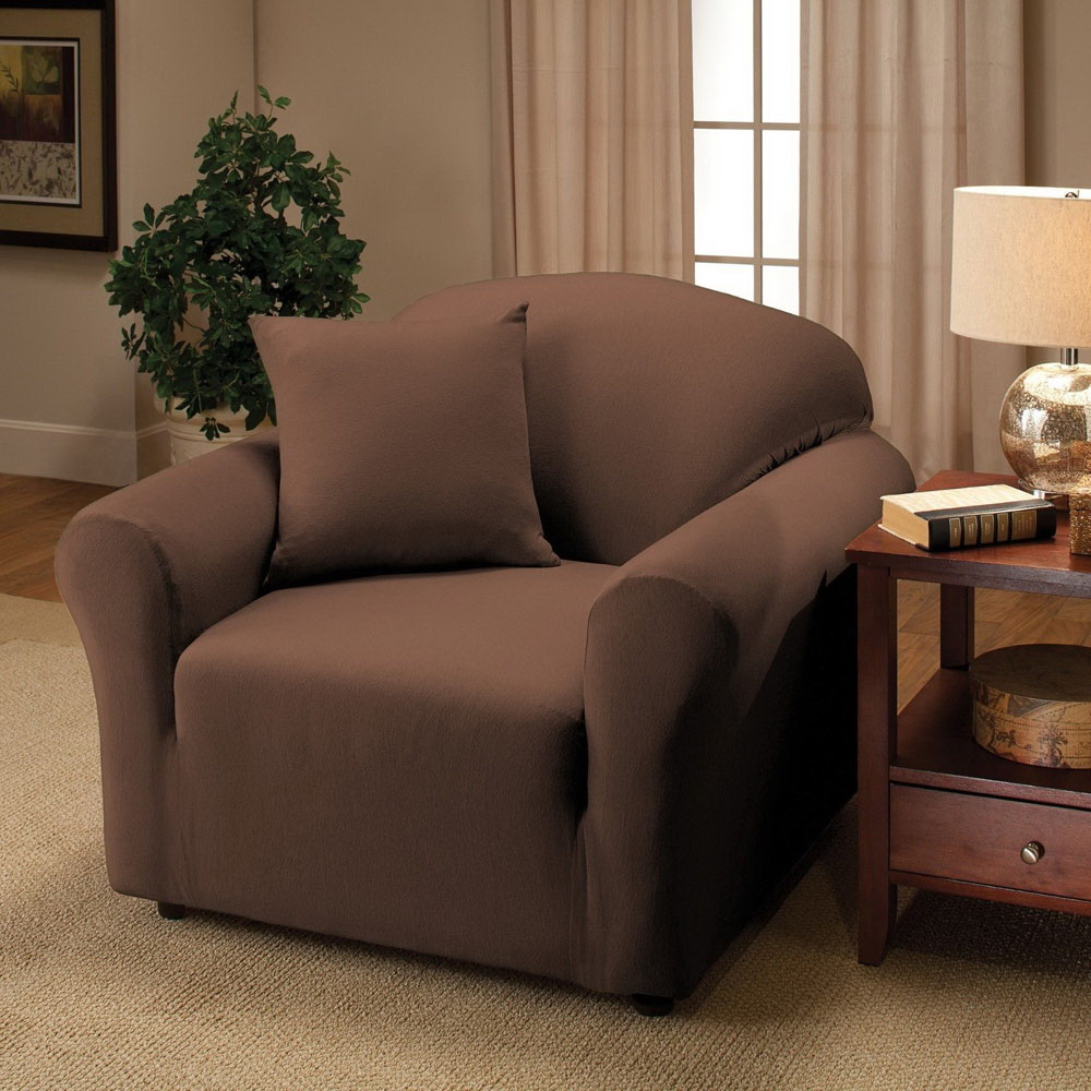Sofa Stretch Slipcover With Chair Loveseat Sofa Recliner Style Cover Chocolate Ebay