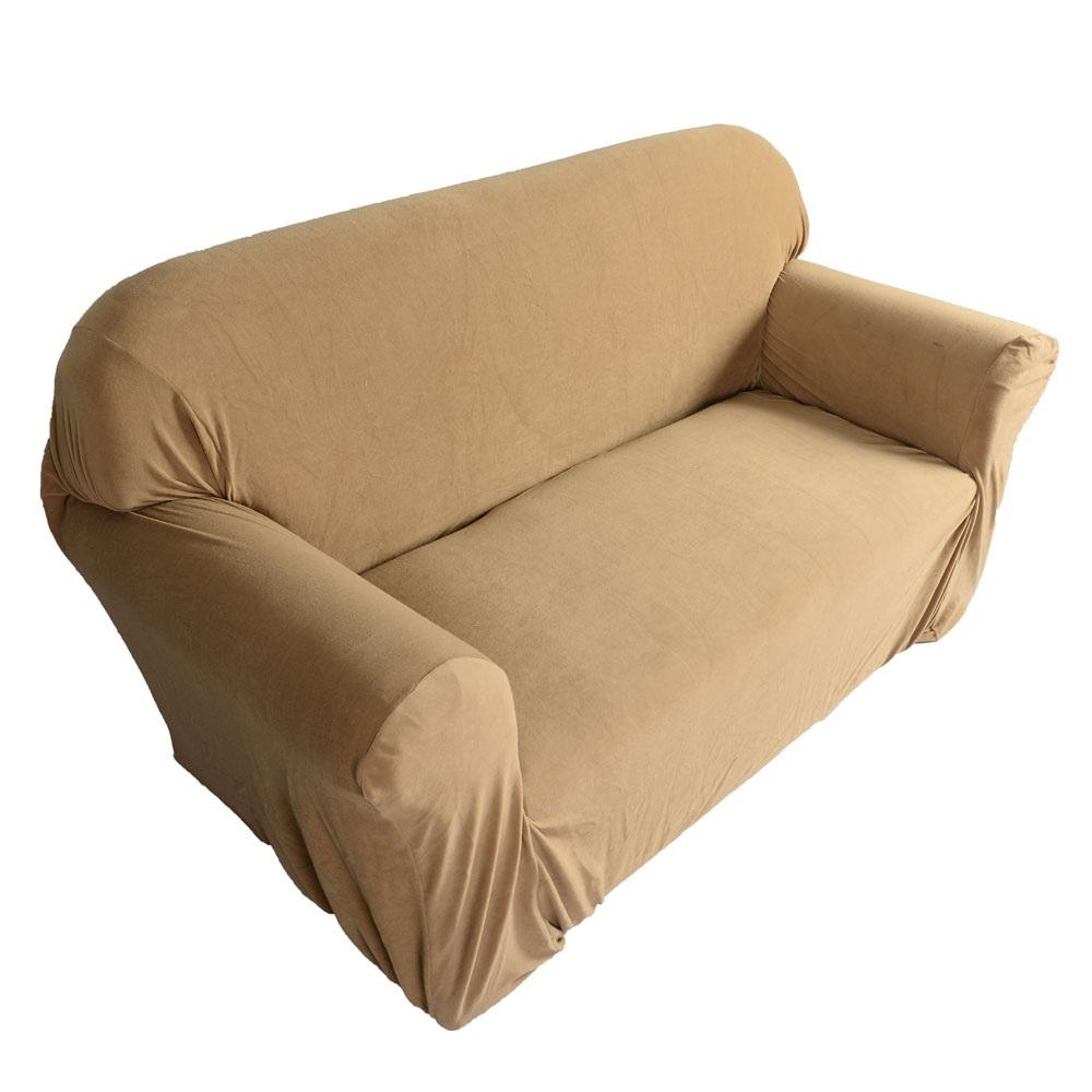New sofa loveseat chair slipcover stretch sofa cover for Beige slipcover sofa