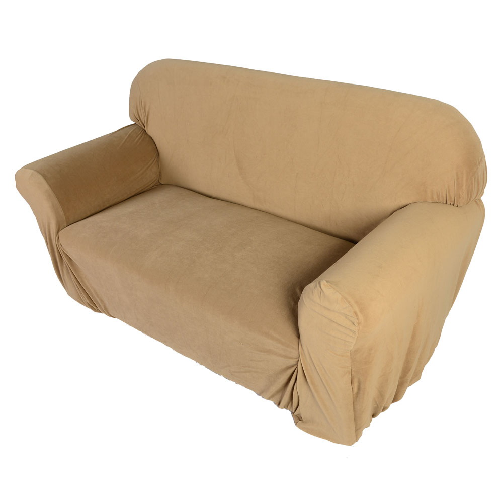 Hot sofa loveseat chair slipcover stretch sofa cover furniture cover beige ebay Loveseat stretch slipcovers