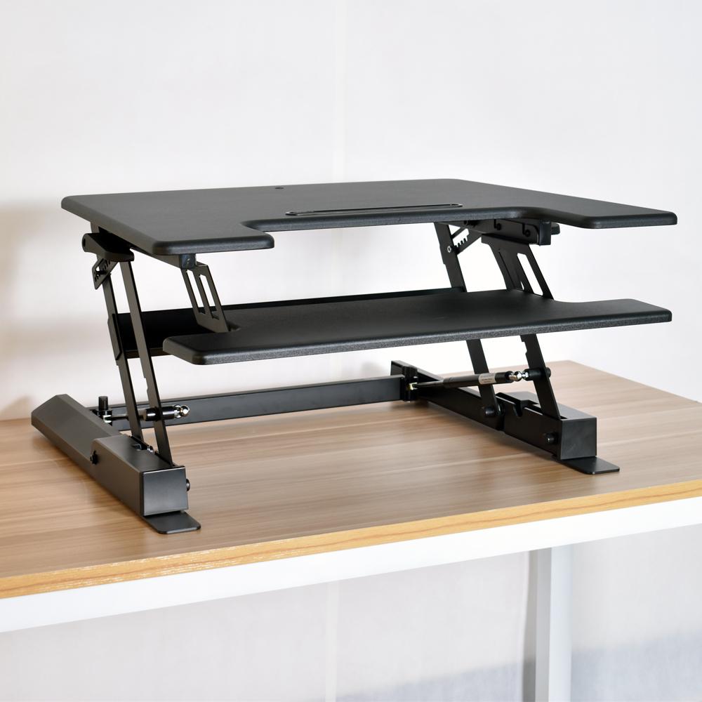 adjustable height sit to stand up desk computer lift rising laptop work station ebay. Black Bedroom Furniture Sets. Home Design Ideas