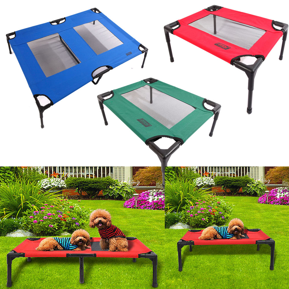Security & Protection Detachable Assembly Style Breathable Pet Steel Frame Camp Bed S Green