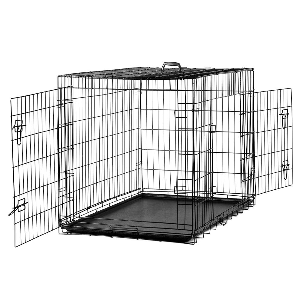 Dog Crate Kennel Folding Metal Pet Cage 2 Door Divider