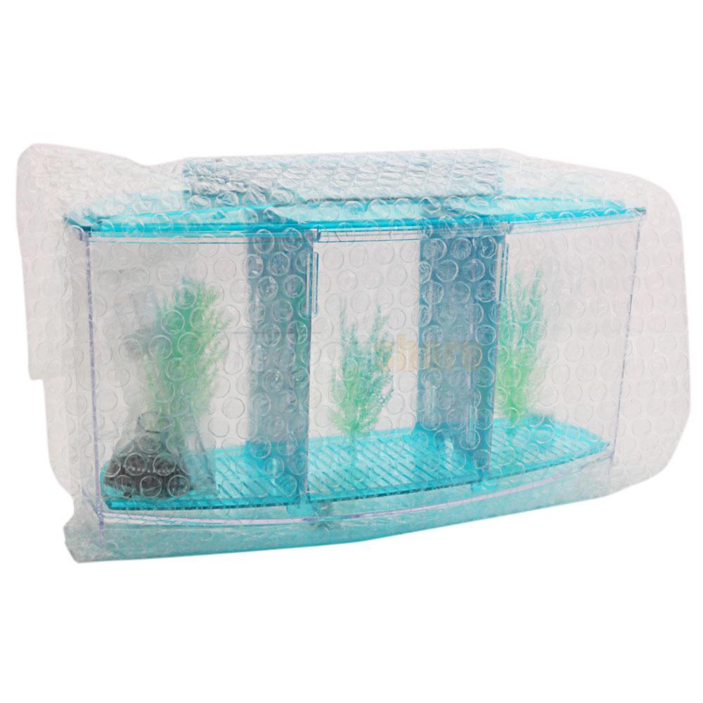 3 compartment acrylic fish tank small aquarium with led for Plastic fish tank