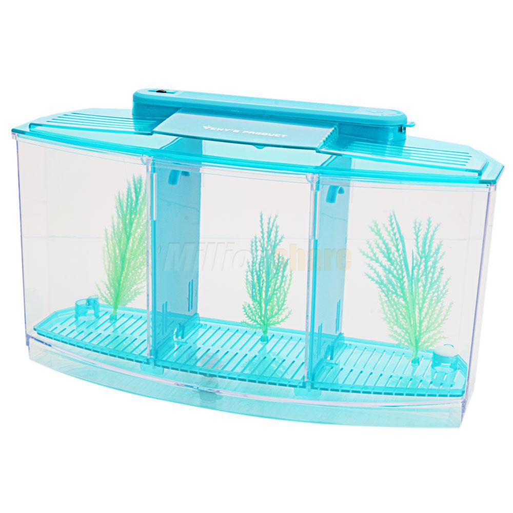 3 compartment acrylic fish tank small aquarium with led for How to build an acrylic fish tank